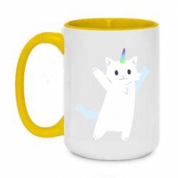 Кружка двоколірна 420ml White cheerful cat