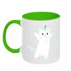 Кружка двоколірна 320ml White cheerful cat