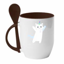 Кружка з керамічною ложкою White cheerful cat