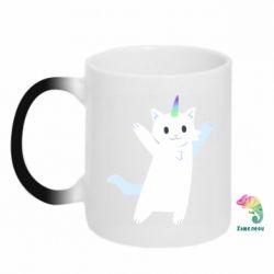 Кружка-хамелеон White cheerful cat