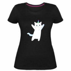 Жіноча стрейчева футболка White cheerful cat