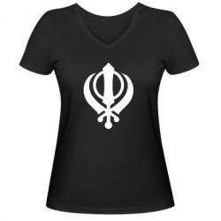 Женская футболка с V-образным вырезом White Khanda - FatLine