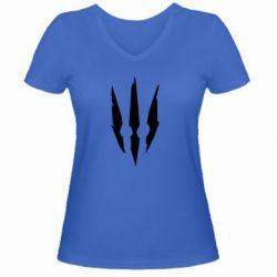 Женская футболка с V-образным вырезом Wiedzmin logo