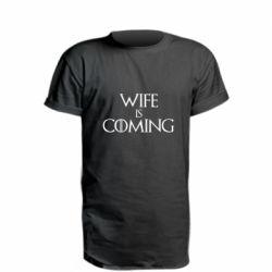 Купить Жена, Удлиненная футболка Wife is coming, FatLine