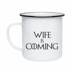 Кружка емальована Wife is coming