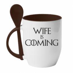 Кружка з керамічною ложкою Wife is coming