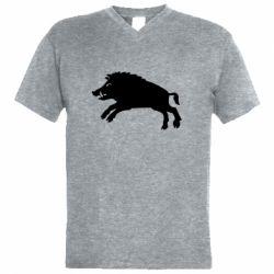 Чоловіча футболка з V-подібним вирізом Wild boar