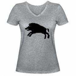Жіноча футболка з V-подібним вирізом Wild boar