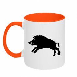 Кружка двоколірна 320ml Wild boar