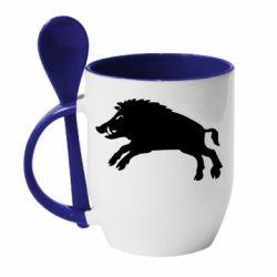 Кружка з керамічною ложкою Wild boar