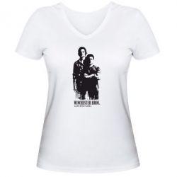 Женская футболка с V-образным вырезом Winchester Bros - FatLine