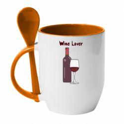 Кружка з керамічною ложкою Wine lover