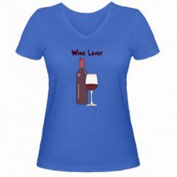 Жіноча футболка з V-подібним вирізом Wine lover