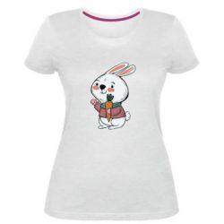 Жіноча стрейчева футболка Winter bunny