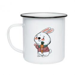Кружка емальована Winter bunny
