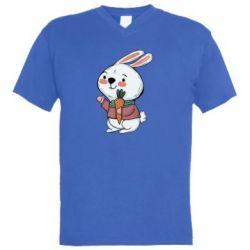 Чоловіча футболка з V-подібним вирізом Winter bunny