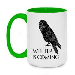 Кружка двоколірна 420ml Winter is approaching and crow