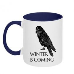 Кружка двоколірна 320ml Winter is approaching and crow