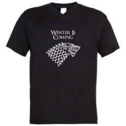 Мужская футболка  с V-образным вырезом Winter is coming (Игра престолов) - FatLine