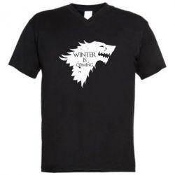 Мужская футболка  с V-образным вырезом Winter is coming soon