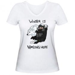 Женская футболка с V-образным вырезом Winter is !@#%ing here
