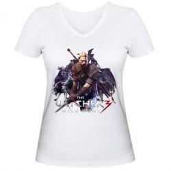 Женская футболка с V-образным вырезом Witcher and the Wolves, FatLine  - купить со скидкой