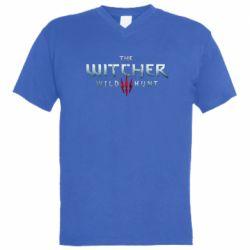 Мужская футболка  с V-образным вырезом Witcher Logo