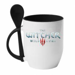 Кружка с керамической ложкой Witcher Logo