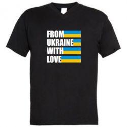 Мужская футболка  с V-образным вырезом With love from Ukraine