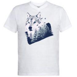Мужская футболка  с V-образным вырезом Wolf and forest