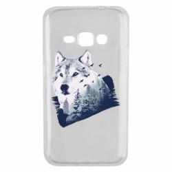 Чехол для Samsung J1 2016 Wolf and forest