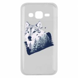 Чехол для Samsung J2 2015 Wolf and forest