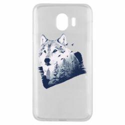 Чехол для Samsung J4 Wolf and forest