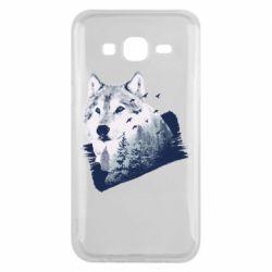 Чехол для Samsung J5 2015 Wolf and forest