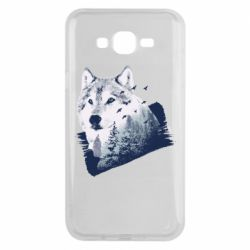 Чехол для Samsung J7 2015 Wolf and forest
