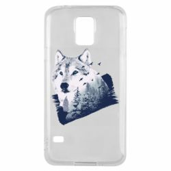 Чехол для Samsung S5 Wolf and forest