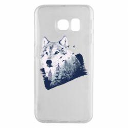 Чехол для Samsung S6 EDGE Wolf and forest