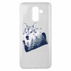 Чехол для Samsung J8 2018 Wolf and forest