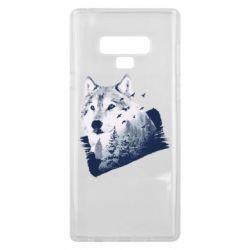 Чехол для Samsung Note 9 Wolf and forest