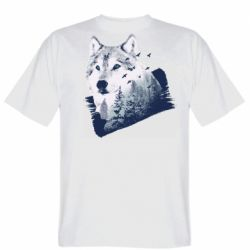 Мужская футболка Wolf and forest