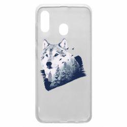 Чехол для Samsung A20 Wolf and forest