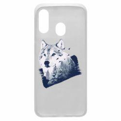 Чехол для Samsung A40 Wolf and forest