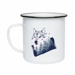 Кружка эмалированная Wolf and forest