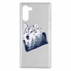 Чехол для Samsung Note 10 Wolf and forest