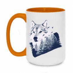 Кружка двухцветная 420ml Wolf and forest