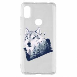 Чехол для Xiaomi Redmi S2 Wolf and forest