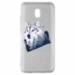 Чехол для Xiaomi Redmi 8A Wolf and forest