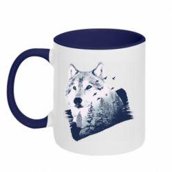 Кружка двухцветная 320ml Wolf and forest