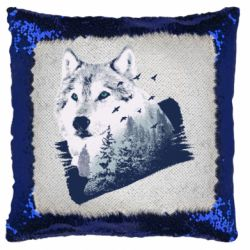 Подушка-хамелеон Wolf and forest