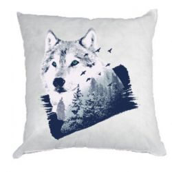 Подушка Wolf and forest